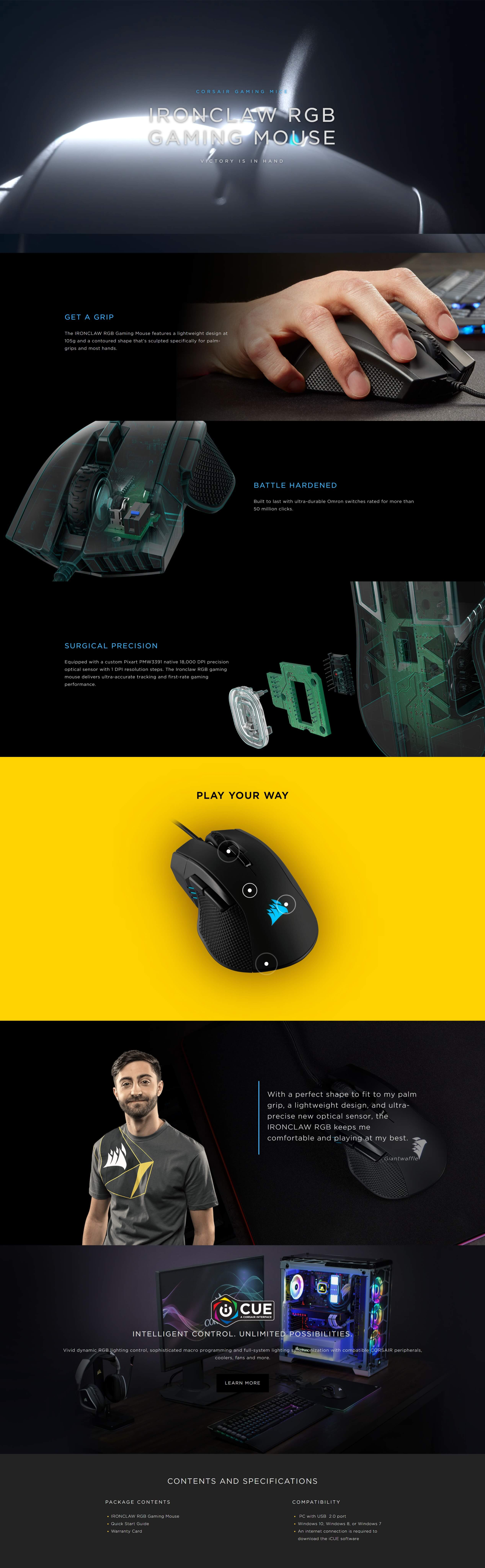 CORSAIR IRONCLAW RGB FPS and MOBA Gaming Mouse | Pakistan